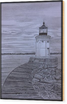 Breakwater Bug Lighthouse Wood Print