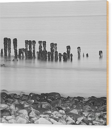 Breakwater Squared Wood Print by Anne Gilbert