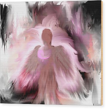Wood Print featuring the painting Breast Cancer Angel by Jessica Wright