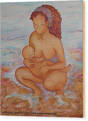 Breastfeeding In Color And Sand Wood Print