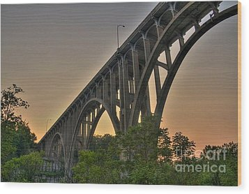 Wood Print featuring the photograph Brecksville Arched Bridge by Jim Lepard