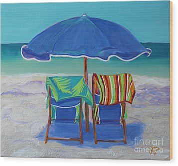 Breezy Beach Day Wood Print