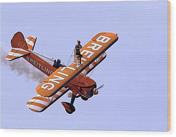 Breitling Wingwalker Wood Print by Paul Scoullar
