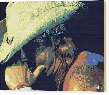 Bret Michaels With Harmonica Wood Print by Michelle Frizzell-Thompson