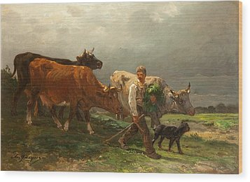 Breton Lad With Cattle Wood Print by Julius Caesar Ibbetson