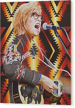 Wood Print featuring the painting Brett Dennen by Joshua Morton