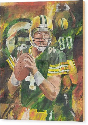 Brett Favre Wood Print by Christiaan Bekker