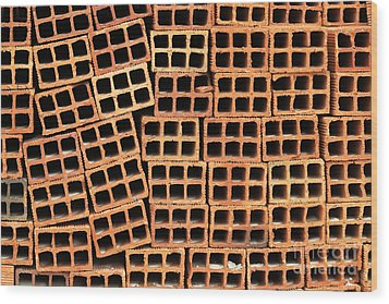 Brick Abstract Wood Print by Vivian Christopher
