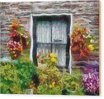 Brick And Blooms Wood Print by RC deWinter