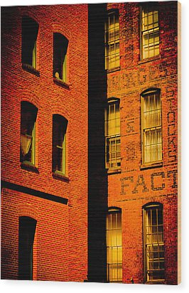 Brick And Glass Wood Print by Matthew Blum