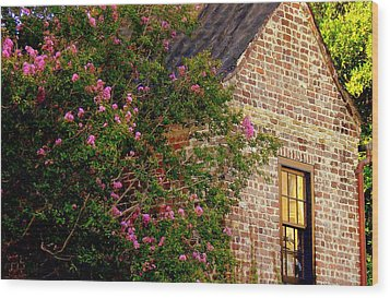 Wood Print featuring the photograph Brick And Myrtle by Rodney Lee Williams