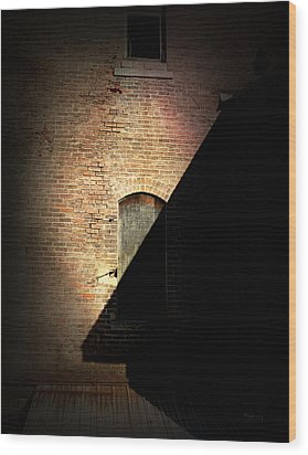 Brick And Shadow Wood Print