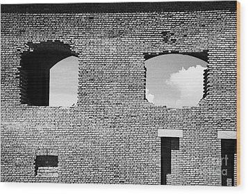 Brick Construction Of The Walls Of Fort Jefferson Dry Tortugas National Park Florida Keys Usa Wood Print by Joe Fox