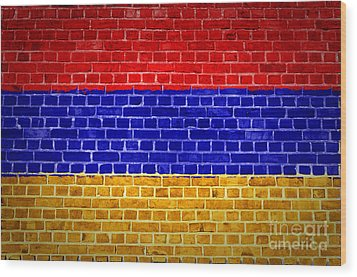 Brick Wall Armenia Wood Print