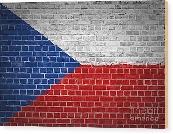 Brick Wall Czech Republic Wood Print by Antony McAulay