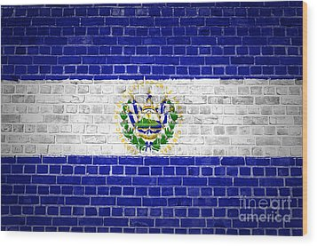 Brick Wall El Salvador Wood Print