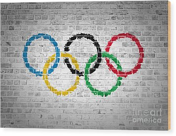 Brick Wall Olympic Movement Wood Print