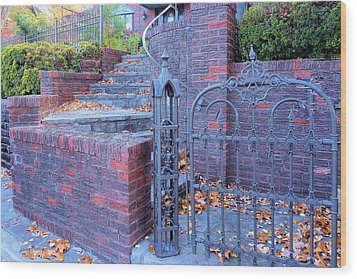 Wood Print featuring the photograph Brick Wall With Wrought Iron Gate by Janette Boyd