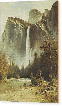 Bridal Falls Wood Print by Thomas Hill