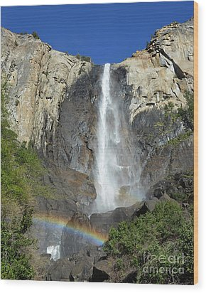 Bridalveil Falls With Rainbow Wood Print by Debra Thompson