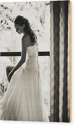 Bride At The Balcony II. Black And White Wood Print by Jenny Rainbow