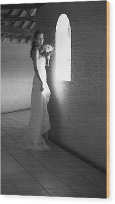 Bride At The Window I. Black And White Wood Print by Jenny Rainbow