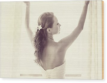 Bride At The Window Wood Print by Jenny Rainbow