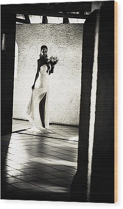 Bride. Black And White Wood Print by Jenny Rainbow