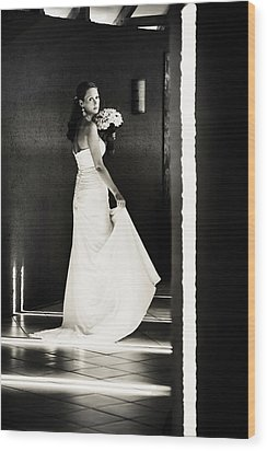 Bride I. Black And White Wood Print by Jenny Rainbow