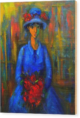 Bride In Blue  Wood Print