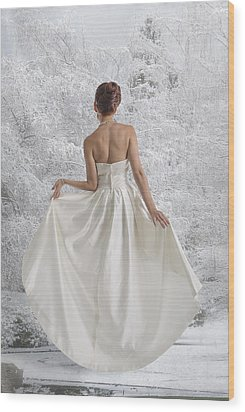 Bride In The Snow Wood Print by Angela A Stanton