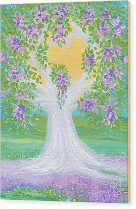 Bride's Tree Purple Wood Print by First Star Art