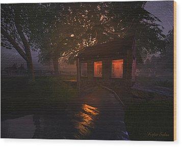 Wood Print featuring the digital art Brideshead Creek Bridge by Kylie Sabra