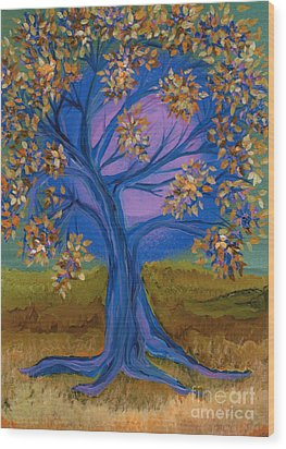 Bridesmaid Tree Blue Wood Print by First Star Art