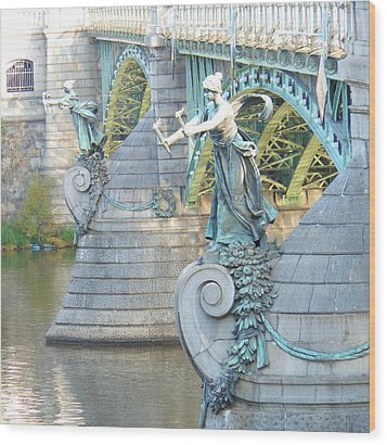 Bridge Adornment In Prague Wood Print by Kay Gilley