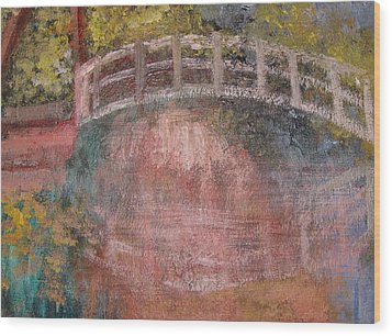 Wood Print featuring the mixed media Bridge After Monet by Diana Riukas