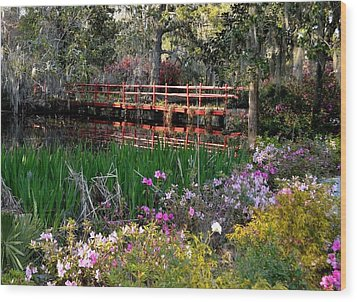 Bridge And Floral Wood Print