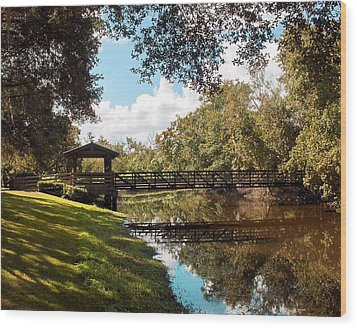 Bridge At Sawgrass Park Wood Print by Ginny Schmidt
