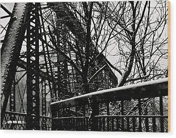 Bridge At Snowfall Wood Print