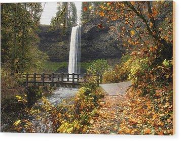 Bridge At South Falls Wood Print