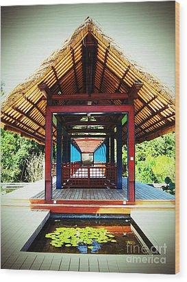 Bridge At Ubud Wood Print by Marguerita Tan