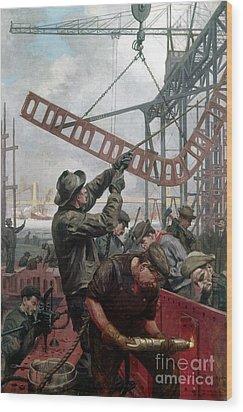 Bridge Construction 1909 Wood Print by Granger
