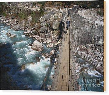 Bridge Crossing Wood Print by Tim Hester