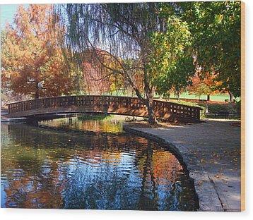 Bridge In Autumn Wood Print