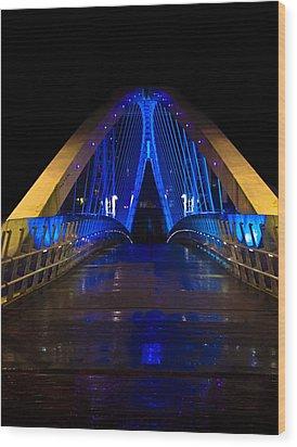 Bridge In Blue Wood Print by Brendan Quinn