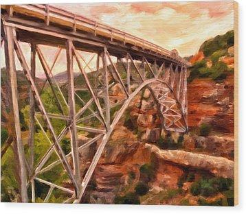 Bridge In Oak Creek Canyon Wood Print by Michael Pickett