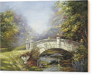Wood Print featuring the painting Bridge In The Park by Dmitry Spiros