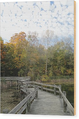 Bridge Into Autumn Wood Print by Guy Ricketts