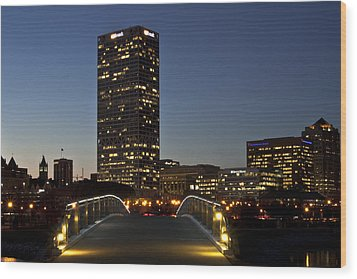 Wood Print featuring the photograph Bridge Into Milwaukee by Deborah Klubertanz