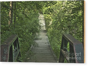 Wood Print featuring the photograph Bridge Into The Woods by Jim Lepard